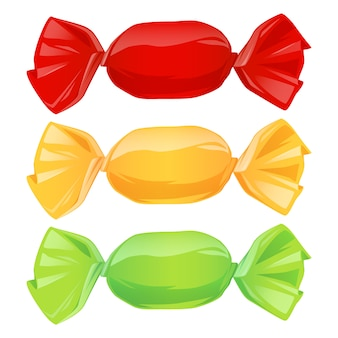 Set of candies in color wrappers.