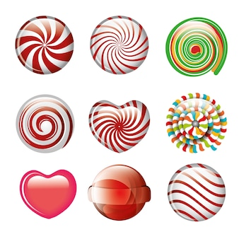 Set candies spiral and heart different color design