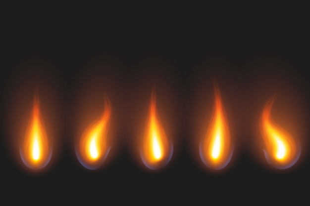 Set of candle flame in golden and red shades