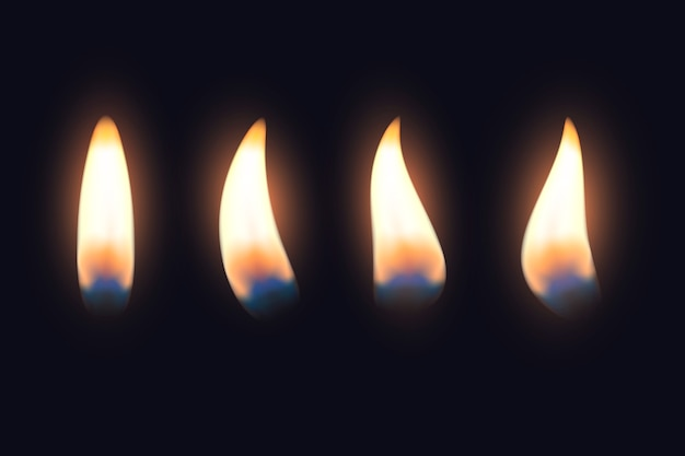Set of candle flames in the dark