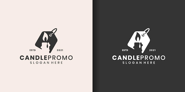 Set of candle logo template
