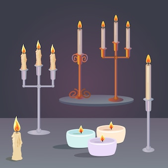 Set of candles and candlesticks
