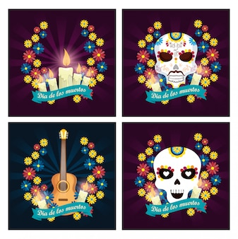 Set candles with skulls and guitar to day of the dead