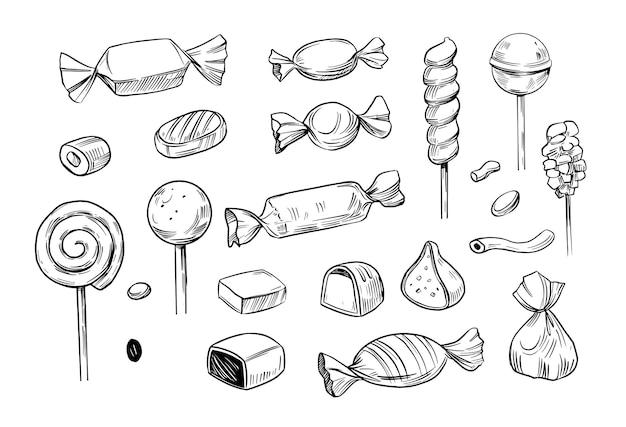 Set of candy vector doodle illustration