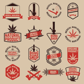 Set of cannabis labels. medical marijuana, bong shop. design elements for logo, label, emblem, sign, brand mark.