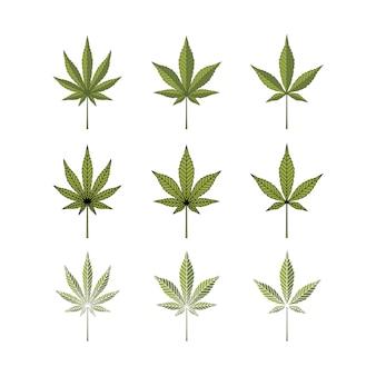 Set cannabis marijuana hemp pot leaf silhouette logo