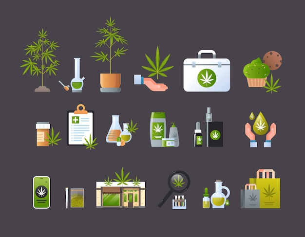 Set cannabis products icons drug consumption concept marijuana legalization sign collection horizontal flat