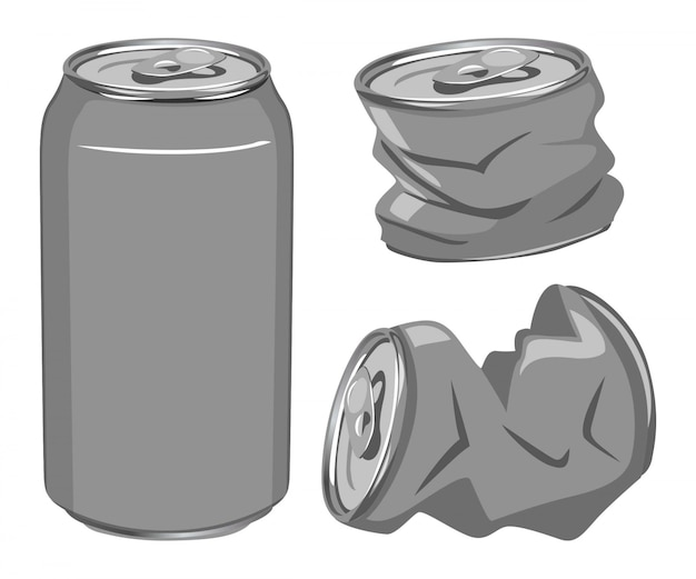 Set of cans, can crushed ready to recycle