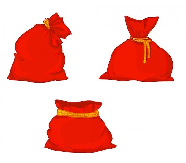 캔버스 자루를 설정합니다. 캔버스 가방. 캔버스 자루의 그림입니다. 크리스마스 가방. 산타 클로스 빨간 가방