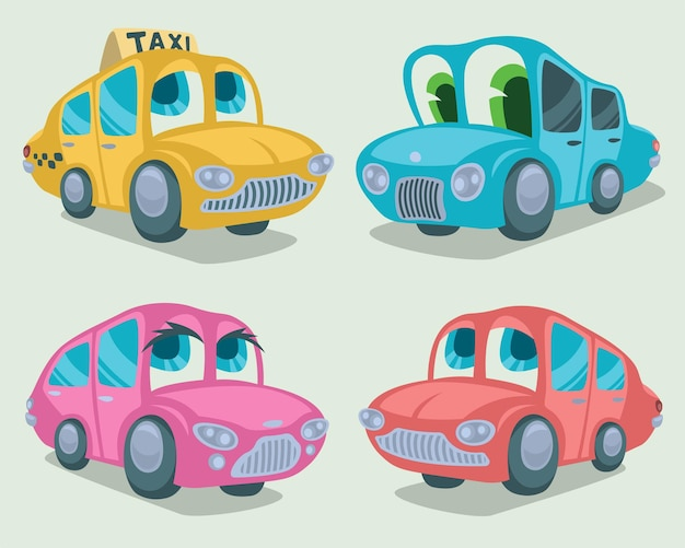 Set of car characters