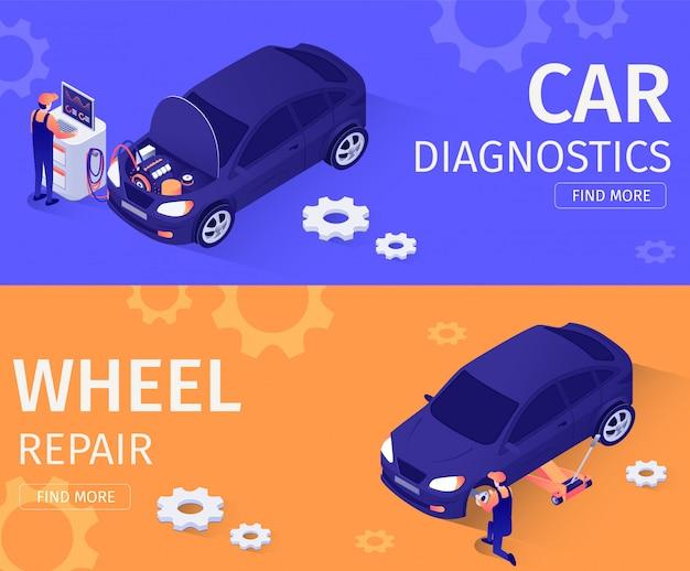 Set for car diagnostics and wheel repair service