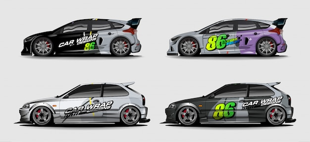 Set of car graphic background. abstract race style livery design for vehicle vinyl sticker wrap