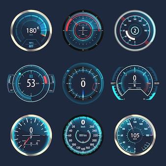 Set of car or moto, truck speedometer.