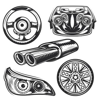 Set of car parts elements for creating your own badges, logos, labels, posters etc.