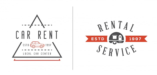 Set of  car rental service elements can be used as logo or icon in premium quality