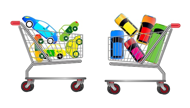 Set of car sale promo on trolley concept easy to modify