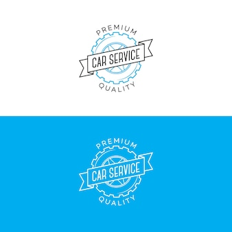 Set of car service logo with gear and ribbon line style isolated on background for car fix