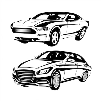 Set of car silhouettes