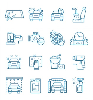 Set of car wash icons with outline style