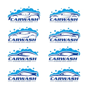 Set of car wash logo template
