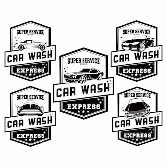 Set of car wash logo