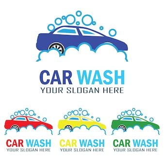 Set of car wash service logo with text space for your slogan