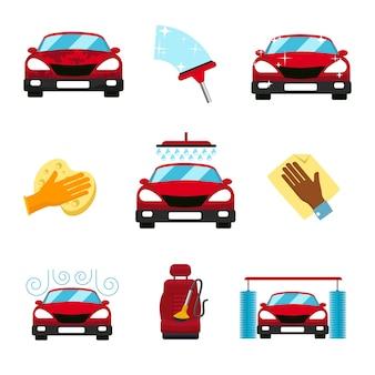 Set of car washing elements