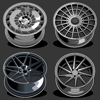 Set of car wheels illustration