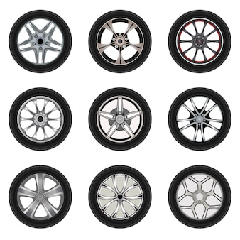 Set of car wheels with different style