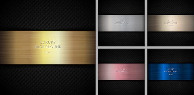 Set of carbon gold, silver, pink gold, bronze, copper metallic