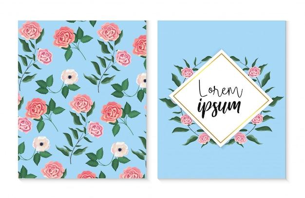 Установите карточку и лебель с розами и цветами растений