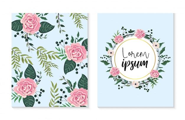 Установите карточку и лебель с розами и растениями листьев