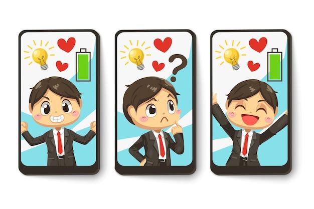 Metta la carta dell'idea creativa dell'uomo d'affari con piena energia nel personaggio dei cartoni animati, illustrazione piana isolata