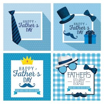 Set card decoration to fathers day celebration