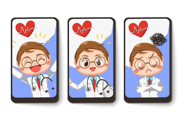 Set card of doctor wearing gown coat with stethoscope with difference emotion in cartoon character, isolated flat illustration