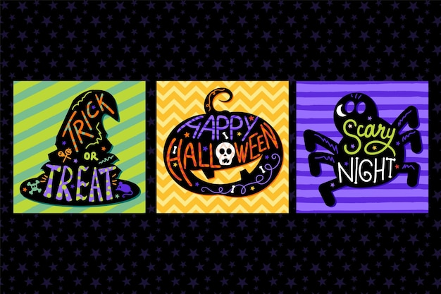 Set of card and invitations for halloween with hand drawn lettering and traditional halloween symbols: pumpkin, witch hat and spider. holiday templates. vector illustration