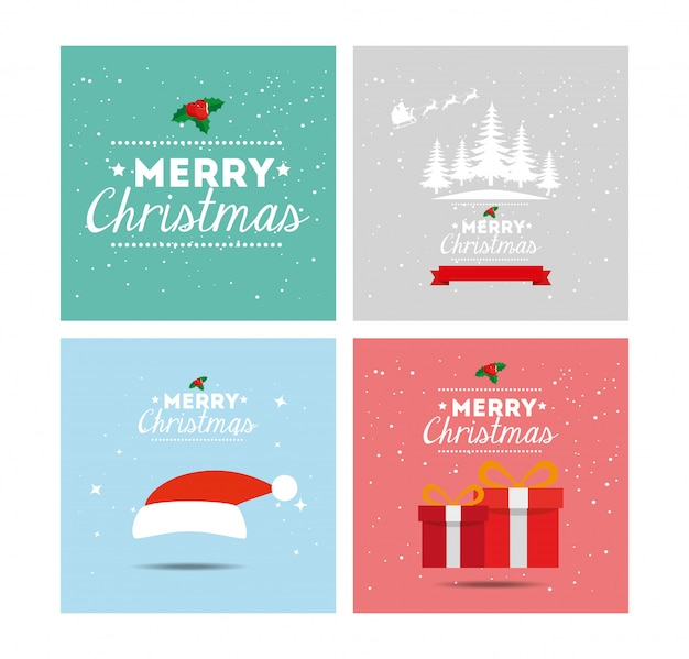 Set card of merry christmas and decoration