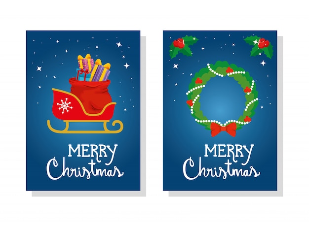 Set card of merry christmas with sled and crown decoration