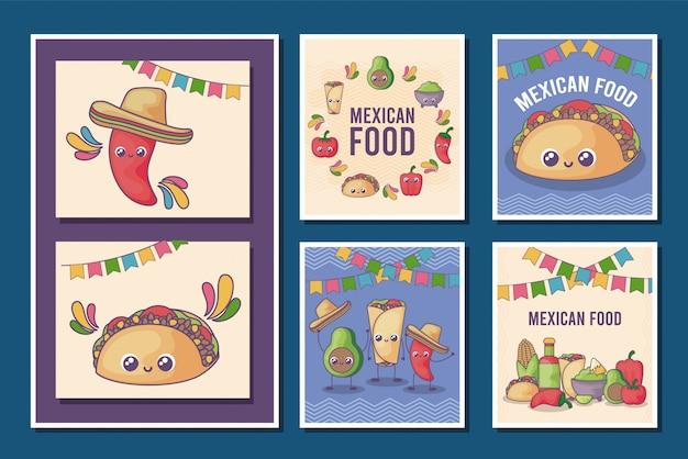 Set of card of mexican food kawaii