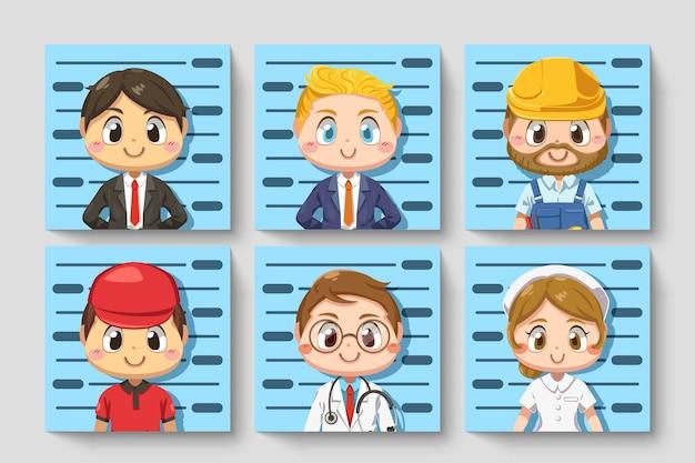 다양한 직업에있는 사람들의 카드 설정 만화 캐릭터, 고립 된 평면 그림에서 신분증 사진 찍기