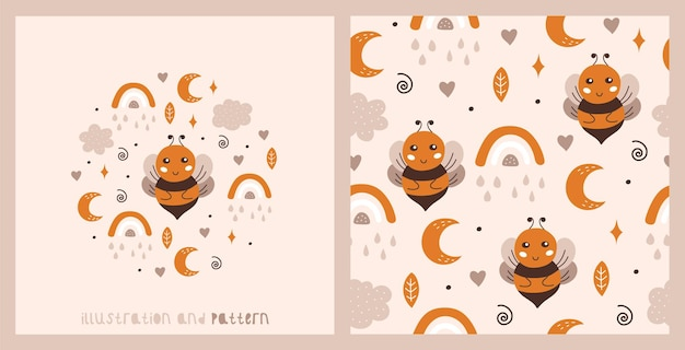 Set of card and seamless pattern with a cute bee rainbow moon clouds and stars