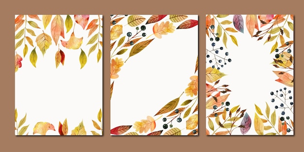 Set of card templates, frames of watercolor fall red and yellow leaves and berries