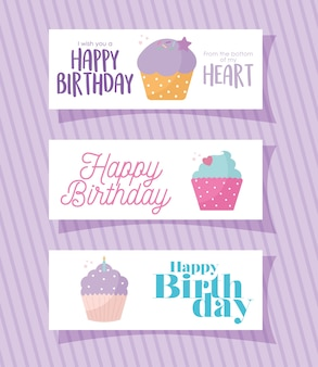 Set of card with cupcakes and happy birthdays letterings on a purple illustration design