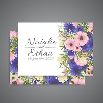 Set of card with flower rose