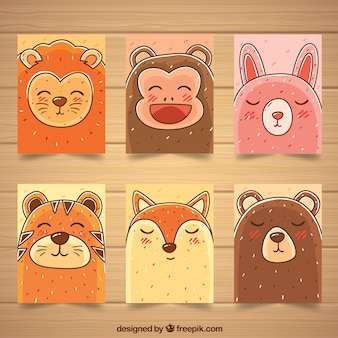 Set of card with happy animal faces
