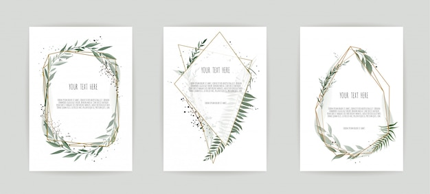 Set of card with leaves and geometrical frame