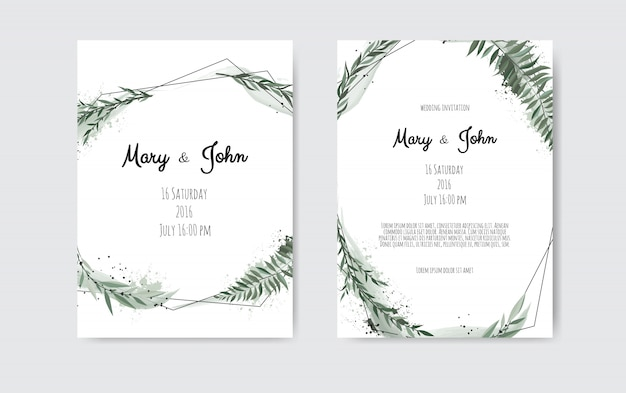 Set of card with leaves and geometrical frame.