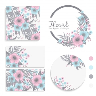 Set of card with pink and blue flowers