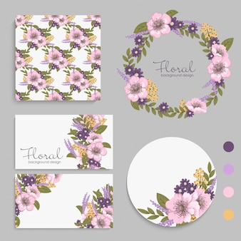 Set of card with purple flowers, leaves.