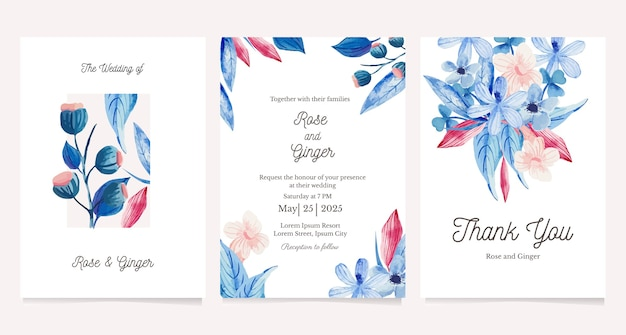 Set of card with watercolor flower. greeting card, wedding invitation design template